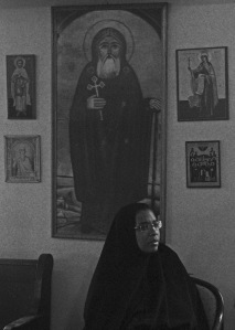 nun and icon b w